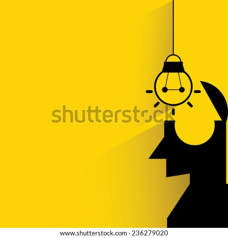 putting a light bulb in to the brain, idea concept - stock vector