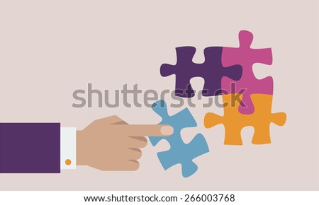 Puzzle and hand vector illustration - stock vector