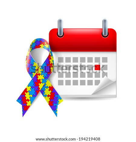 Puzzle awareness ribbon and calendar with marked day. Autism symbol - stock vector
