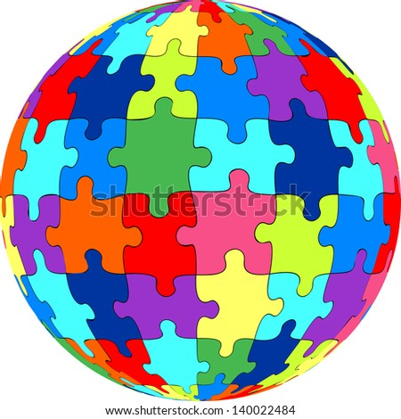 Puzzle ball - stock vector