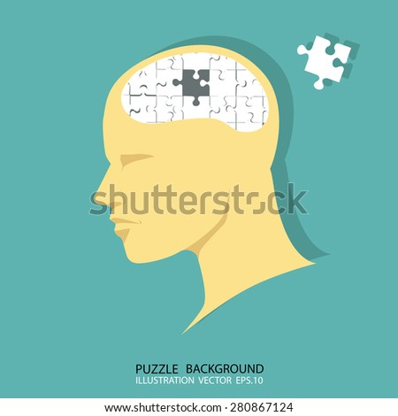 Puzzle brain and head, vector image - stock vector