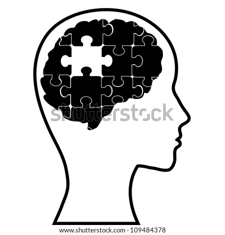 Puzzle brain and silhouette head, vector image - stock vector
