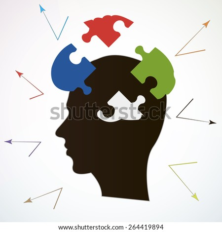 Puzzle broken brain or broken knowledge creative illustration art - stock vector