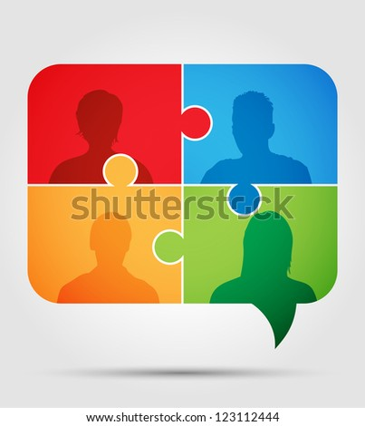 Puzzle - communication 3 - stock vector