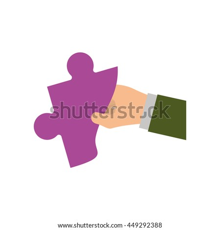 Puzzle concept represented by Jigsaw and hand icon. isolated and flat illustration