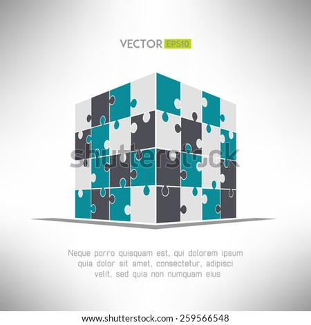 Puzzle cube in pespective. Building construction concept. Vector illustration - stock vector