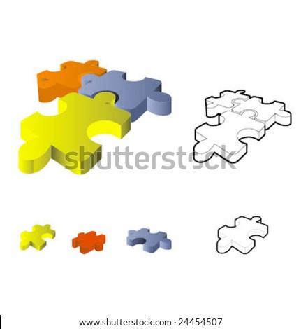Puzzle: 3d icon isolated on white - stock vector