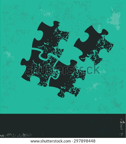 Puzzle design on green background,grunge vector