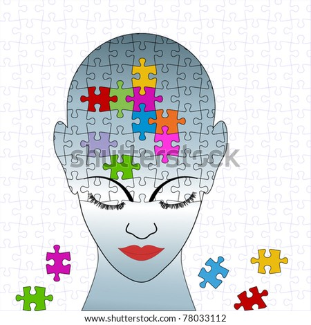 Puzzle female - full puzzle in background individual pieces - stock vector