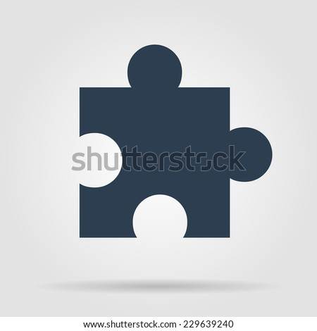 puzzle Flat black Simple Icon, isolated on white background. - stock vector