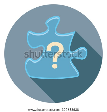 puzzle flat icon in circle - stock vector
