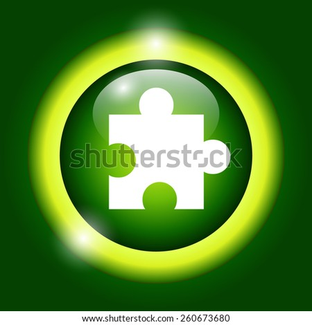 puzzle Flat Icon, isolated on green background. - stock vector