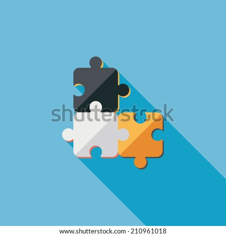 Puzzle flat icon with long shadow,EPS 10 - stock vector