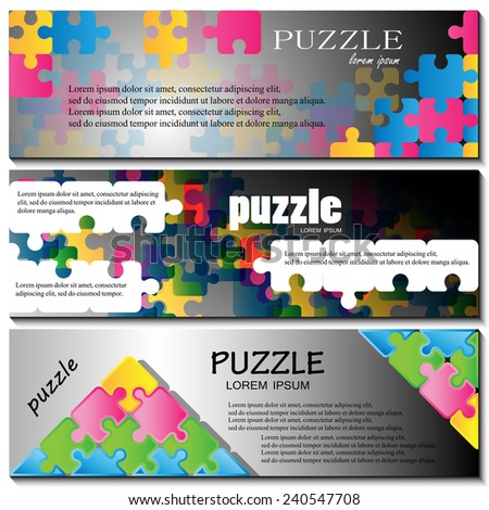 Puzzle Flyer Template - Vector Illustration, Graphic Design, Editable For Your Design - stock vector