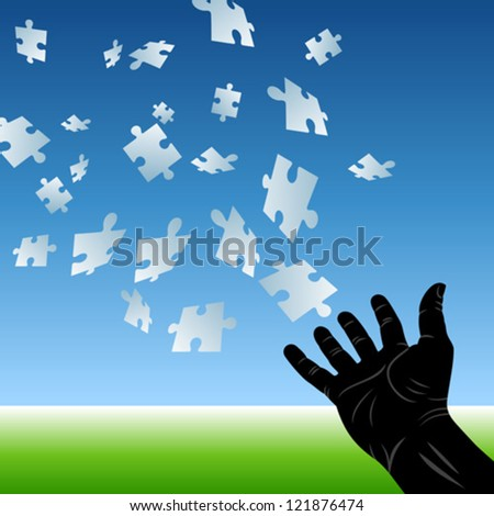 puzzle flying to hand - stock vector
