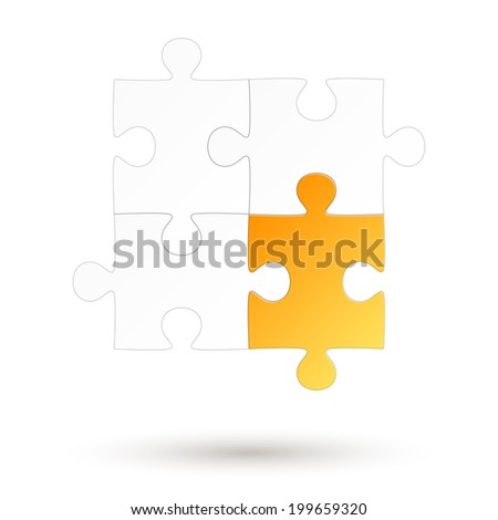 Puzzle - four parts - Yellow Option - stock vector