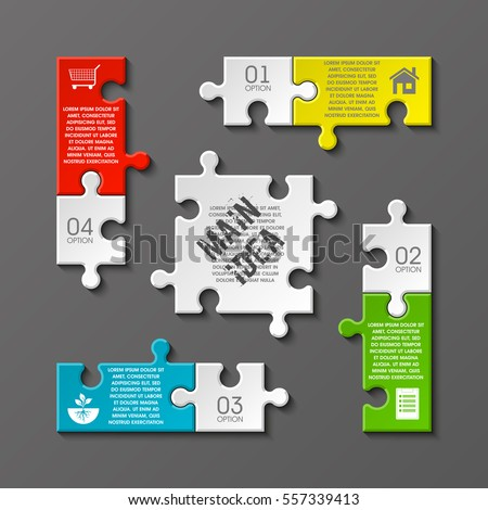 Puzzle four piece business presentation square stock vector royalty puzzle four piece business presentation square infograph circle 4 step process diagram card colourmoves