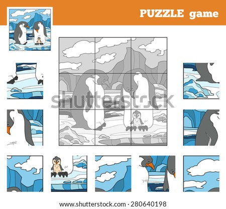 Puzzle Game for children with animals (penguin family) - stock vector