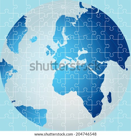 Puzzle. Global, Africa view - stock vector