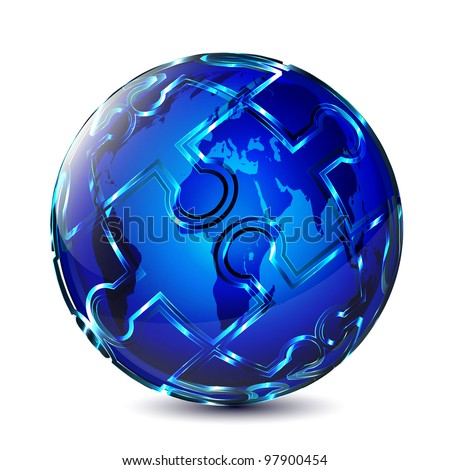Puzzle globe design - stock vector