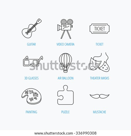 Puzzle, guitar music and theater masks icons. Ticket, video camera and 3d glasses linear signs. Entertainment, painting and mustache icons. Linear set icons on white background.