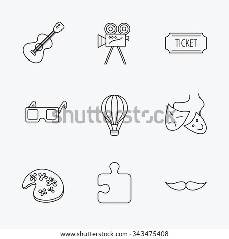 Puzzle, guitar music and theater masks icons. Ticket, video camera and 3d glasses linear signs. Entertainment, painting and mustache icons. Linear black icons on white background.