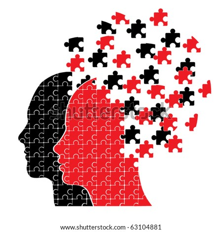 Puzzle head couple vector - stock vector