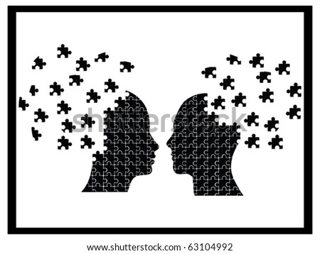 Puzzle heads icon vector - stock vector