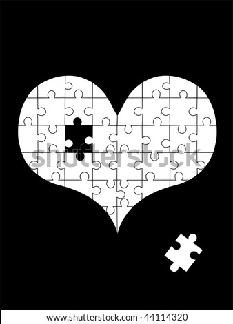 puzzle heart - stock vector