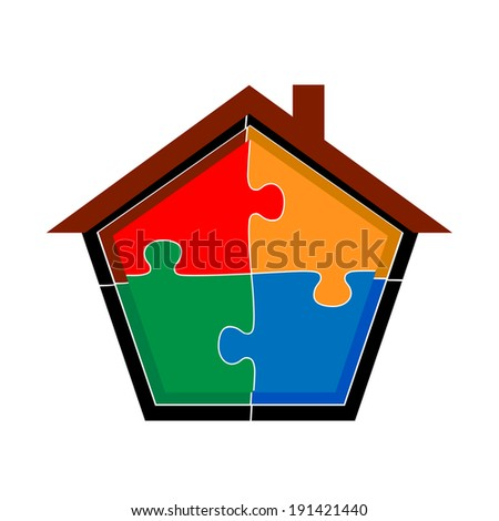 puzzle home illustration design over a white background