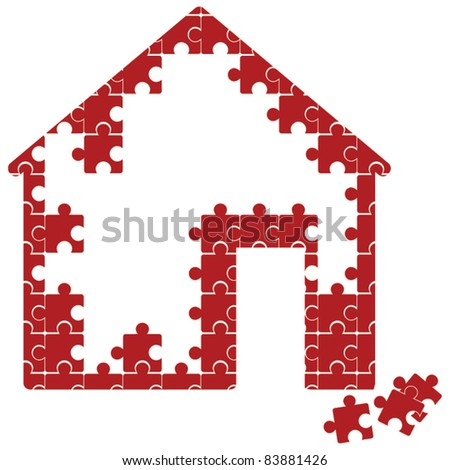 puzzle house - stock vector