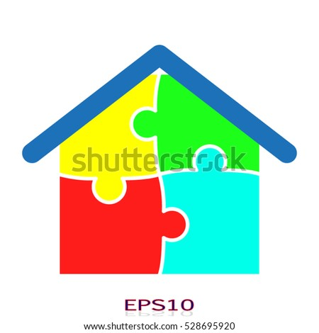 puzzle, house, icon, vector illustration, eps10
