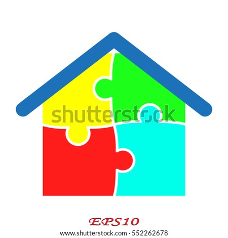 puzzle, house, icon, vector illustration eps10