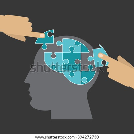 Puzzle icon design - stock vector