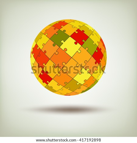 Puzzle icon for logo. Jigsaw vector symbol. Template for logo. Realistic sphere made from pieces. Vector business background. Abstract background or poster on finance them - stock vector