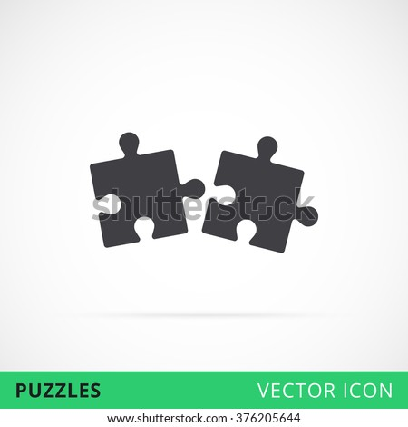 Puzzle icon shape vector icon two together compound and coupling in process, black silhouette puzzle icon, vector puzzles game sign, puzzle move together - stock vector