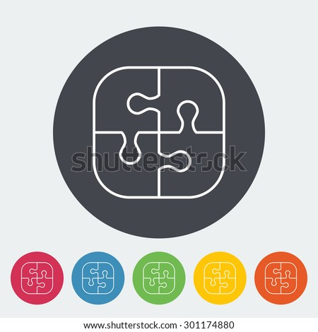 Puzzle icon. Thin line flat vector related icon for web and mobile applications. It can be used as - logo, pictogram, icon, infographic element. Vector Illustration.  - stock vector