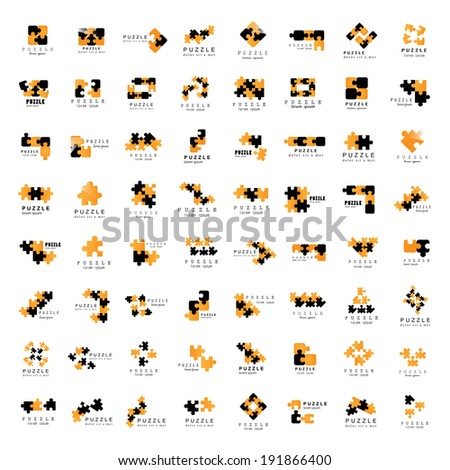 Puzzle Icons Set - Isolated On White Background, Vector Illustration, Graphic Design Editable For Your Design - stock vector