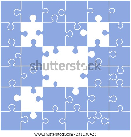 Puzzle illustration with blank spaces vector,