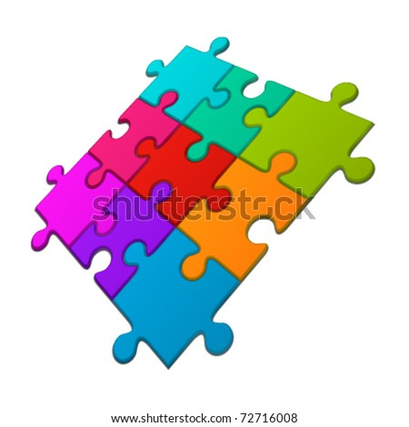 Puzzle in perspective vector illustration. Eps 10. - stock vector