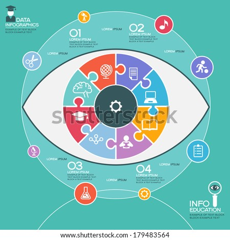 Puzzle in the form of an abstract human eye surrounded infographic education. Education concept with icons and text - stock vector