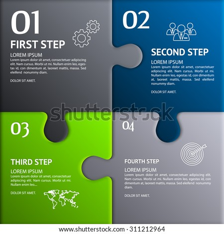 Puzzle infographic. Template with explanatory text field for business statistics. - stock vector