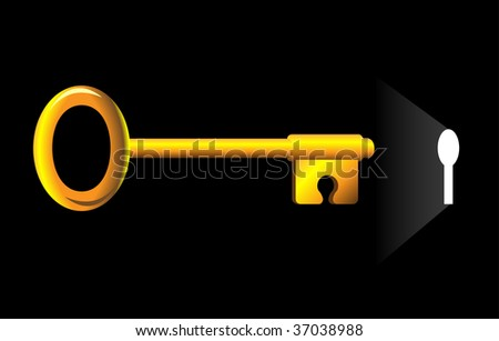Puzzle like key inserting into keyhole.  Solution concept. - stock vector