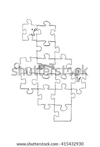 Puzzle of male and female - stock vector