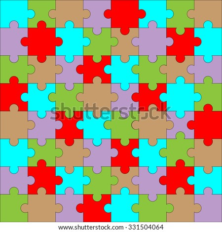 Puzzle pattern color. Background design game, piece and jigsaw abstract connection. Vector illustration - stock vector