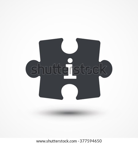 Puzzle piece. Concept image with i letter (Information). Flat icon - stock vector