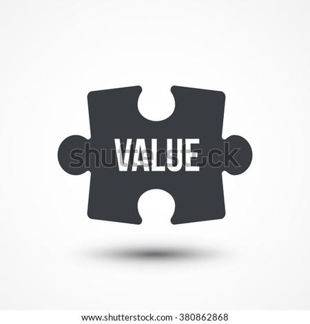 Puzzle piece. Concept image with VALUE word. Flat icon - stock vector