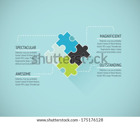 Puzzle piece flat infographics business concept vector - stock vector