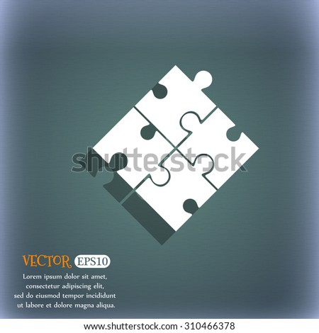 Puzzle piece icon sign. On the blue-green abstract background with shadow and space for your text. Vector illustration - stock vector