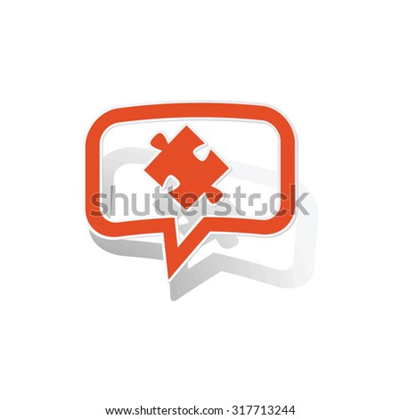 Puzzle piece message sticker, orange chat bubble with image inside, on white background